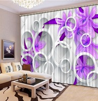 purple curtains flower curtain Curtains purple lilac Luxury Blackout 3D Curtains For Living Room office Bedroom