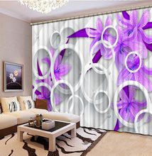 purple curtains flower curtain Curtains purple lilac Luxury Blackout 3D Curtains For Living Room office Bedroom(China)