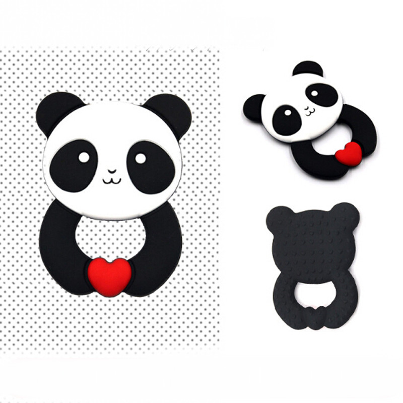 Panda Style Baby Chew Toy Silicone Teethers Baby Teether Ring Teething Pendant Necklace DIY Infant Gift