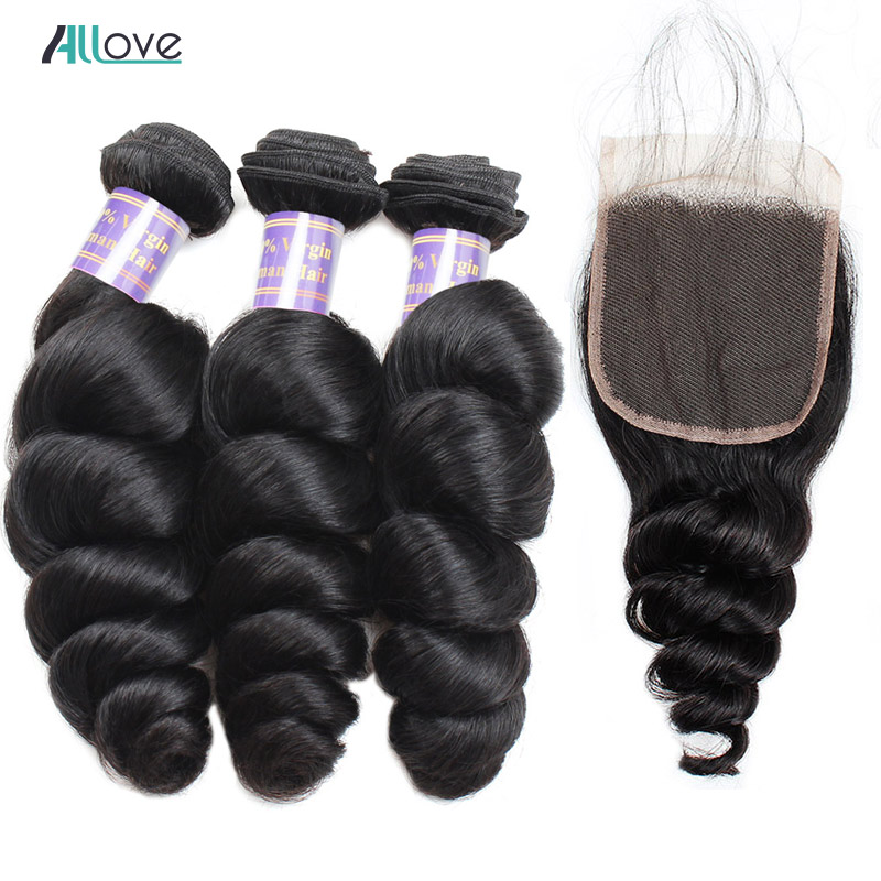 Malaysian Loose Wave With Closure Allove Human Hair Bundles With Closure Middle Part Non Remy Hair