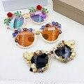 Новый Конструктор Винтаж личность кристалл большие солнцезащитные очки кадр женского отражающей уф-защитой Пляжный отдых Летом Солнцезащитные Очки