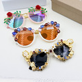 New Designer Vintage personality crystal big frame sunglasses female reflective uv protection Beach leisure Summer Sun Glasses