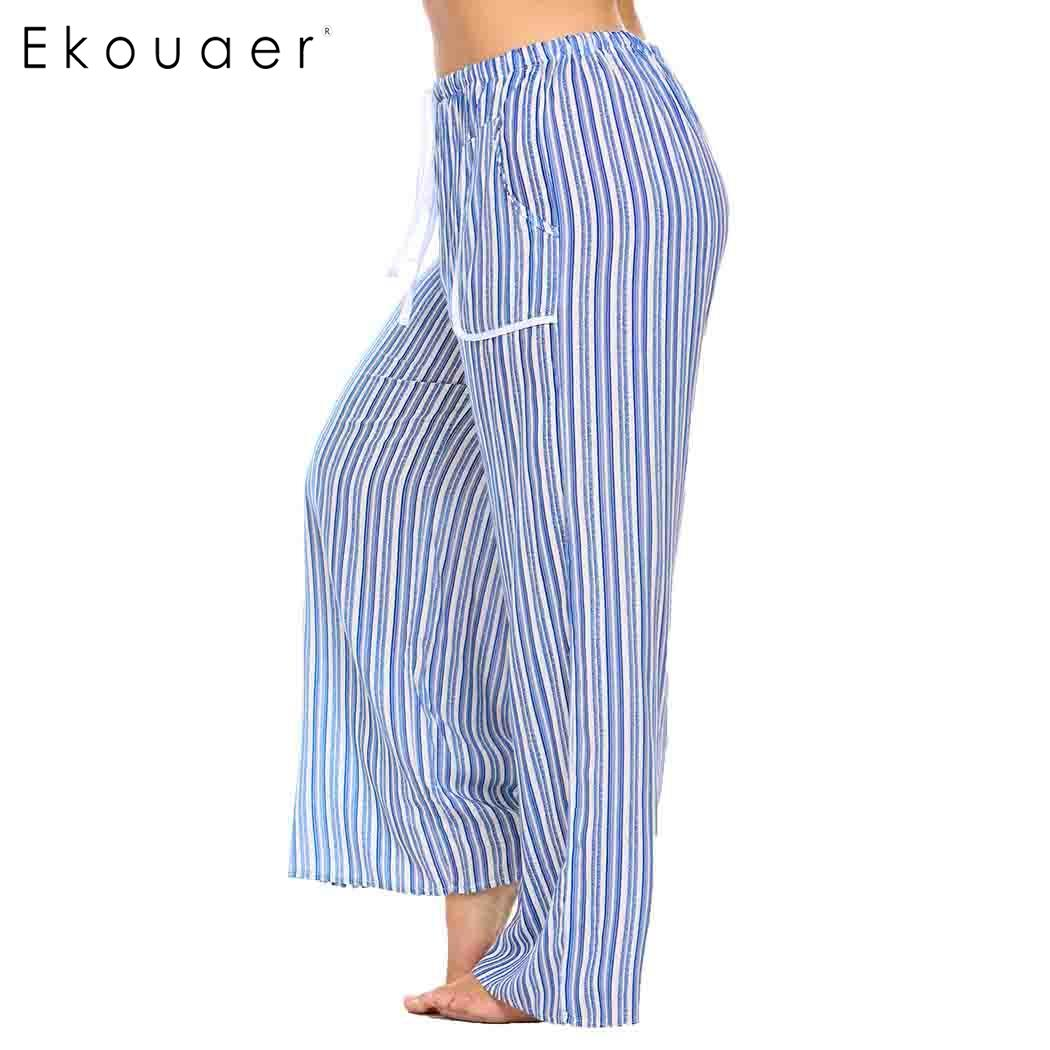 Ekouaer Women Long Sleepwear Pants Pajama Drawstring Waist Striped Casual Loose Ladies Pants Sleepwear Pijamas Plus Size 1