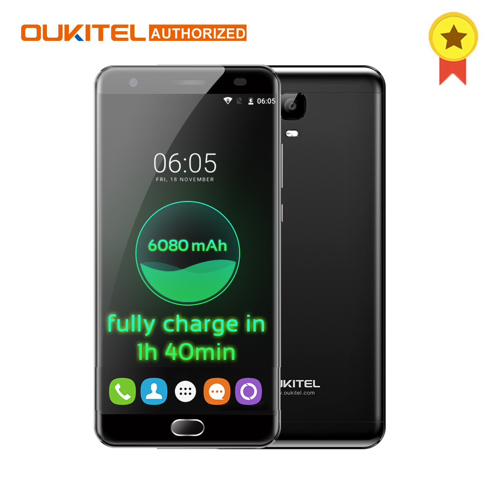 OUKITEL K6000 Plus Android 7.0 4G Handy 5,5 ''FHD MTK6750T Octa-core 4 GB + 64 GB 8.0MP + 16.0MP 6080 mAh Touch ID Smartphone