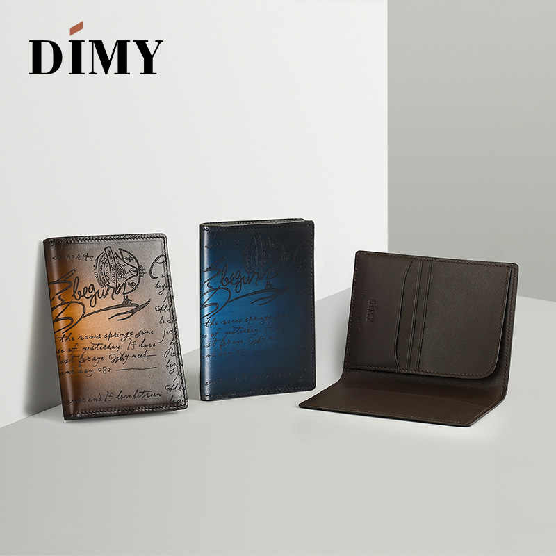 brillance des couleurs le moins cher Super remise Dimy Italy Genuine Leather Passport Cover Case Porte Carte Bancaire Etui  Carte Bancaire with Credit Card Holder Protector Cover