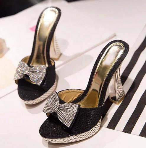 2017 chun xia female waterproof table 11 cm bowknot fish mouth high-heeled wedge slippers sandals thick with womens shoes