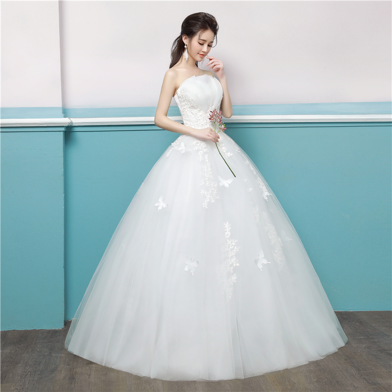 Beauty Fancy strapless wedding dresses Exquisite embroidery tulle ...