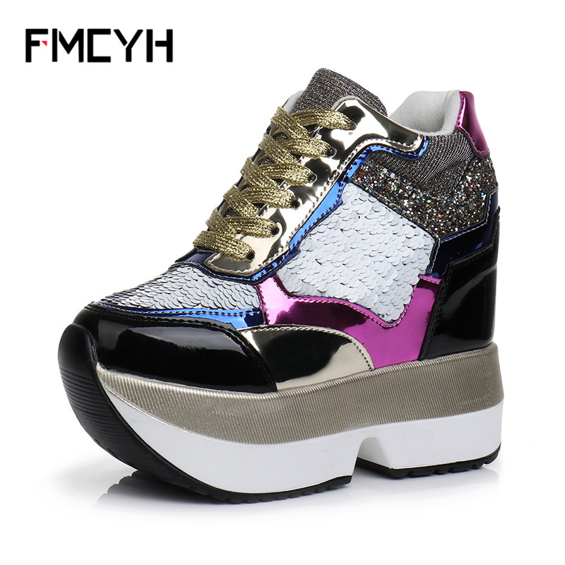 FMCYH Woman Wedge Boots PU Leather Female Trainers Fashion Harajuku Girls Shoes Bling Ankle Boots High Platform Women Sneakers