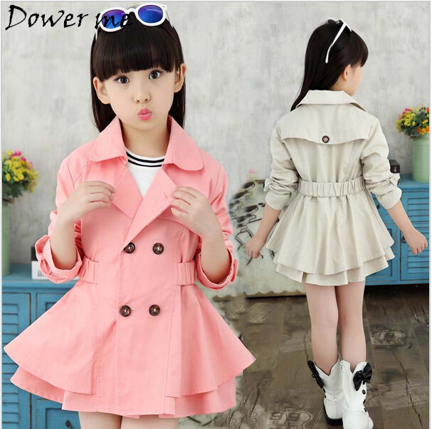 New Girls Jackets Double-breasted Trench Coat Good Quality Pink And Beige Girl Coat Children Outerwear Girls Jacket ...