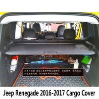 For Jeep Renegade 2016 2019 Rear Cargo privacy Cover Trunk Screen Security Shield shade (Black, beige)