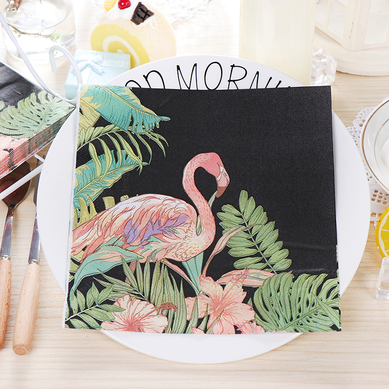 20 Vintage Servet Papieren Tissue Zwart Gedrukt Roze Flamingo Palm Blad Bloemen Decoupage Servilletas Wedding Party Decor Handdoek