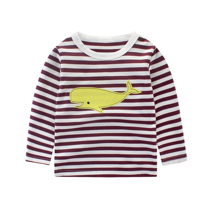 New Boys T shirt Children Clothing Top Brand Children Girls Boys Long Sleeve Tops Striped And Printed T-shirts 2-10T j2