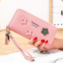 2019 new tassel ladies hand wallet female long section soft flower multi-function student large capacity clutch