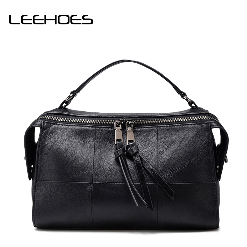 2018 Brand Genuine Leather Women Messenger Bag Soft Patchwork Cowhide Leather Shoulder Bag Women Crossbody Bag Daily Handbag threepeas patchwork shoulder bag cow leather handbag women genuine leather messenger bag crossbody