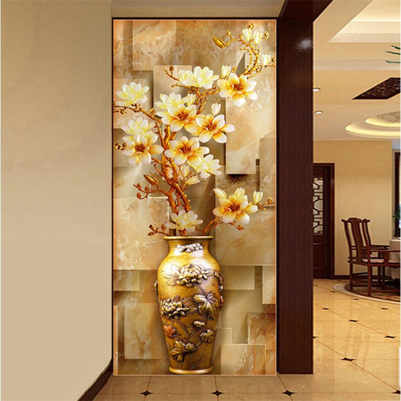 Photo Wallpaper Quality Wall Painting Entrance Stereoscopic Elegant  Magnolia Vase Large Mural Wallpaper For Living Room Modern Part 33