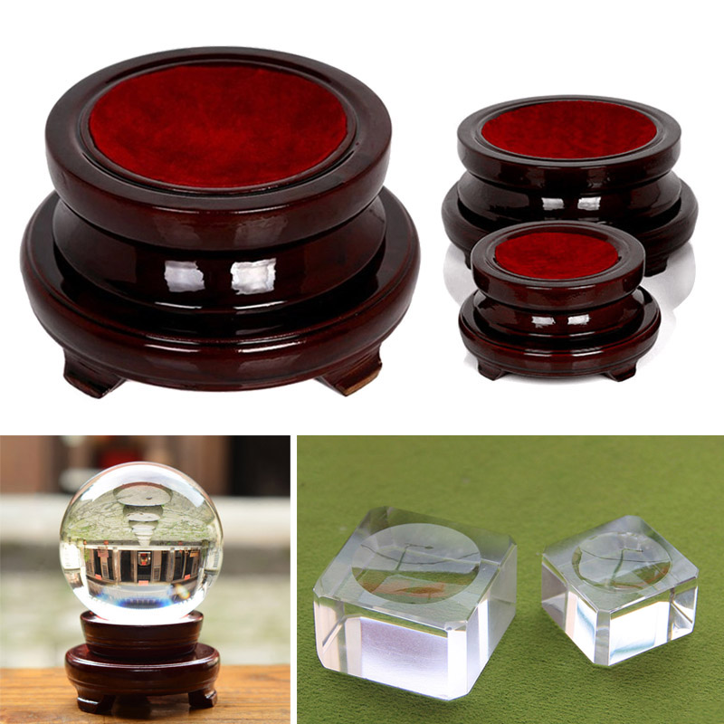 Transparent Wooden Base Stand Holder Decoration For Crystal Glass Ball Home Office Gift 899