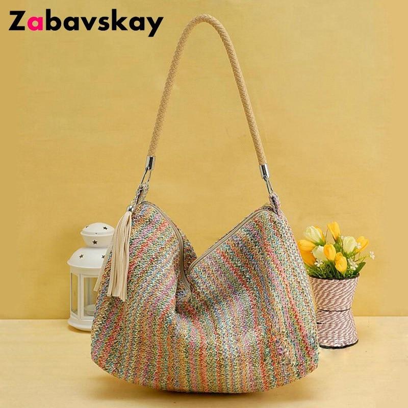 2018 New Designer Shoulder Bag Large Capacity Vintage Knitting Women Handbags Shopping Casual Tote Grass Beach Bag Bolsa DJZ499