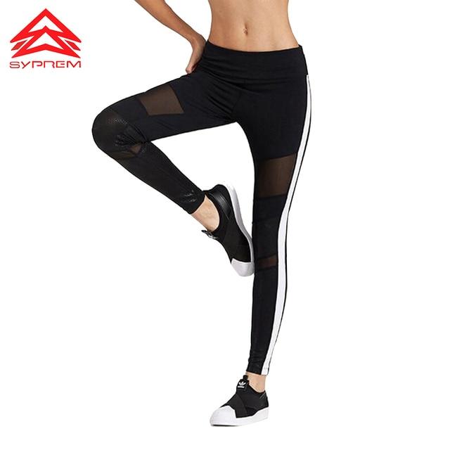 ee376b5f6897b Syprem 2017 Spring Women Sexy Yoga Sports Pants Compression Leggings PU &  Mesh Leggings Gym Skinny Fitness Sportswear,1FP1014