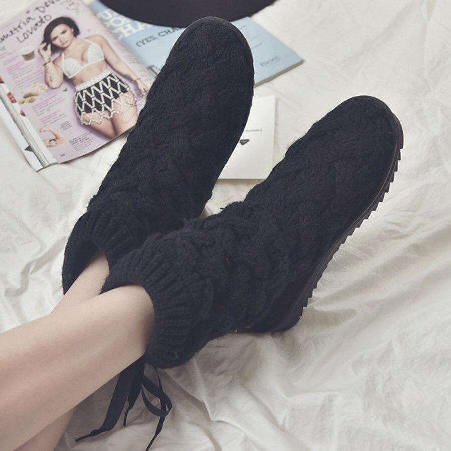 Mantener Novedad Negro Nieve Lana Invierno Mujer Estilo Caliente Cómodo Botas Mujeres gris Las Alta De Zapatos Creativo Hilo Y TwWq5vxBpq