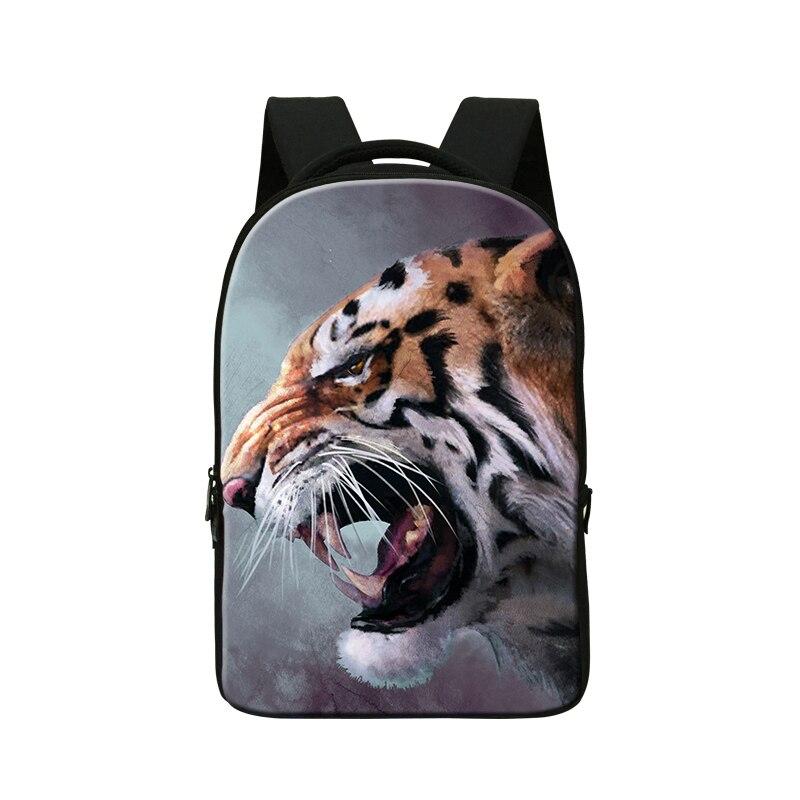2017 animal 3D printing mens laptop backpacks for 14 inch boys tiger school bookbags cool lion