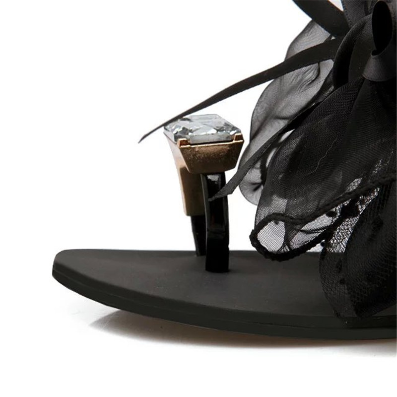 Image 5 - YMECHIC 2018 summer ladys Bowtie flower flat sandals sexy casual fashion female beach flip flops women grey black shoes homeshoes homewoman shoes homeshoes home woman -