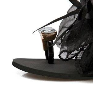Image 5 - YMECHIC 2018 summer ladys Bowtie flower flat sandals sexy casual fashion female beach flip flops women grey black shoes home