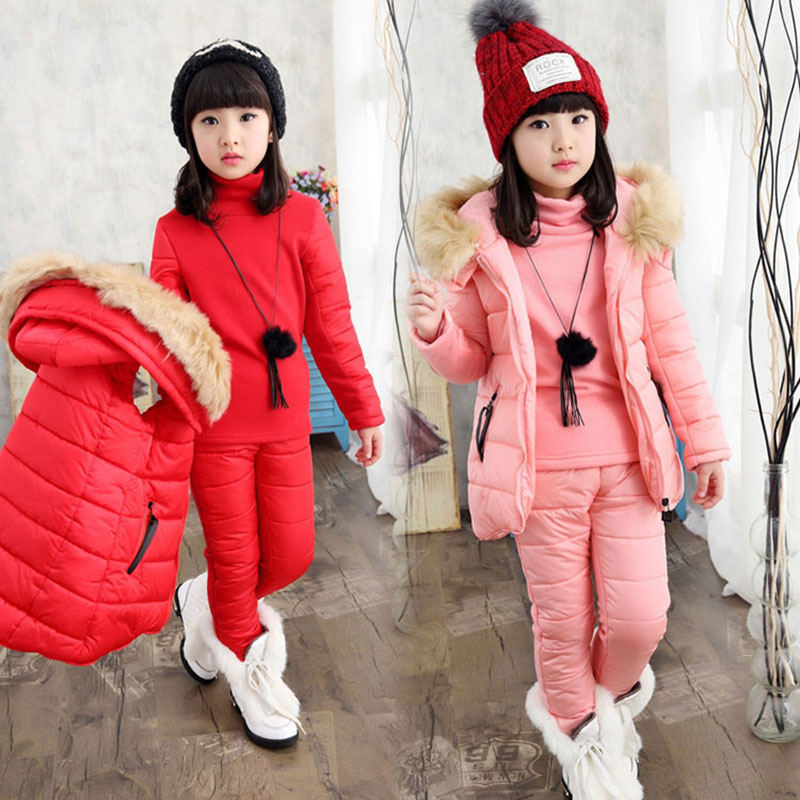 2017 Autumn Winter -5 Degree Teenage Girls Clothing Set Fashion Cotton Children's Clothes Suit Vest+Top+Pant Overalls For Girl cheapest  10 items  5 suit clothes   5