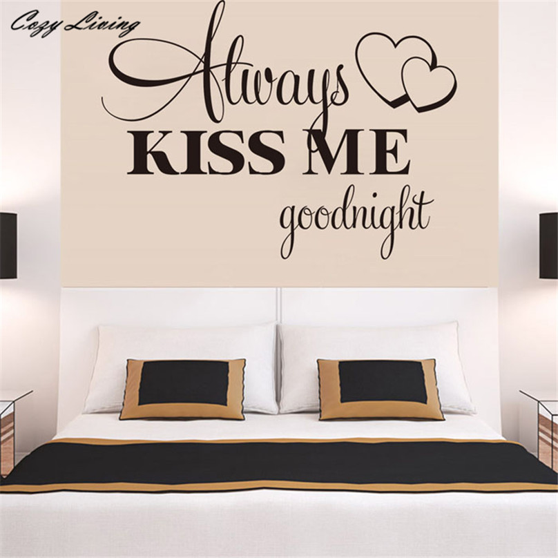 Wall Sticker 1PC Always Kiss Me Goodnight Wall Sticker Quote Decal  Removable Sticker Letters Wallpaper DIY Sticker D8  In Wall Stickers From  Home U0026 Garden ...