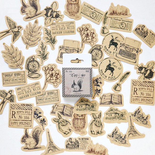 45 pcs Vintage dier sticker eekhoorn uil bladeren fotoalbum Plakboek decor sticker diy Handgemaakte cadeau kaarten stickers Arts Craft