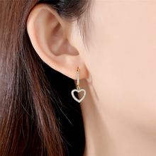 Ailodo Heart Shape Crystal Clip Earrings For Women Gold Color Female Party Wedding Fashion Jewelry Girls Gift LD202