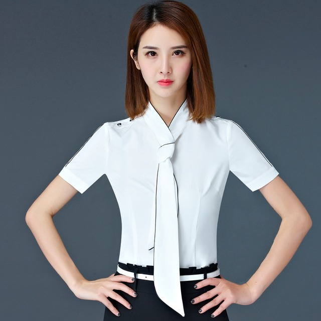ae8e3cf2b35 US $12.73 25% OFF|Casual OL Career bow women shirt short sleeve formal slim  elegant business blouse office ladies plus size 4XL work wear tops-in ...