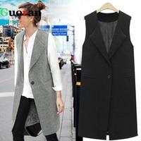 Guoran Women Long Vest Black Grey Femme Sleeveless Outwear 2017 Large Size Female Fashion Jackets