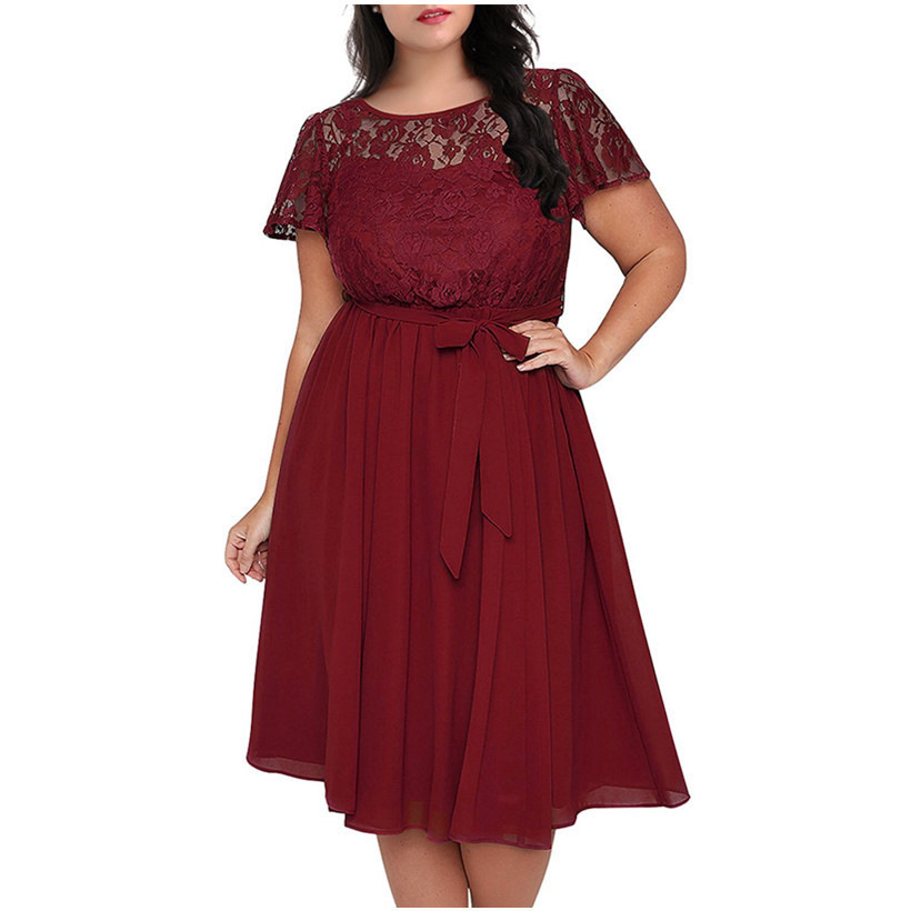 Women Vintage Short Sleeve Floral Lace Top A-line <font><b>Dress</b></font> O-neck <font><b>Plus</b></font> <font><b>Size</b></font> <font><b>8XL</b></font> 9XL Party Chiffon Midi Cocktail Swing <font><b>Dress</b></font> Clothes image