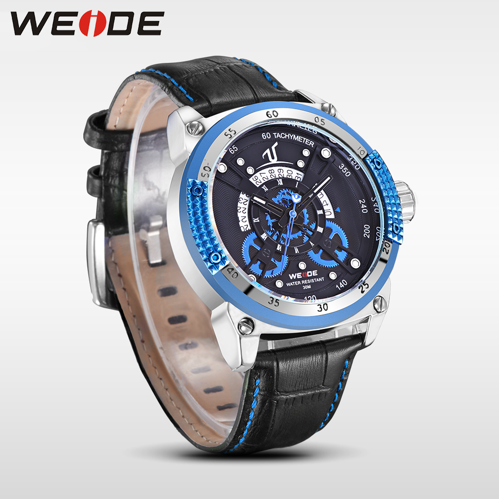 WEIDE Fashion casual genuine Leather Strap Sports Watches Men's Quartz Clock Man Army Military Waterproof  Wrist Watch Gift top weide 2017 new men quartz casual watch army military sports watch waterproof back light alarm men watches alarm clock berloques