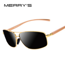MERRY'S Men Luxury Polarized Sunglasses Aluminum Alloy Classic  Brand Men Sunglasses Gold Frame High quality Original Package