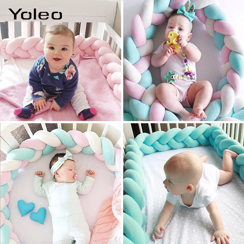 Baby Bed Bumper Newborn Baby Braided Bed Bumper Pure Weaving Plush Knot Crib Bumper Protector Infant Room Decor