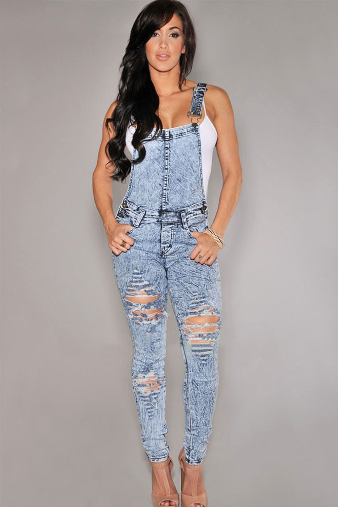 b9dd16ad5fa7 2016 Fashion New Womens Denim Overalls Fashion Suspender Long Pant Jean  Jumpsuit Bodycon Blue Black Skinny Playsuits-in Jumpsuits from Women s  Clothing on ...