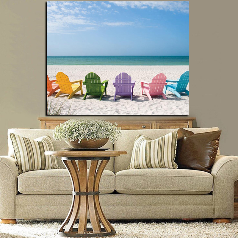 Crystal Ocean And Blue Sky Seascape Canvas Painting Beach Chair Print On Canvas Pop Art Picture Wall Painting For Living Room Home Decor Home & Garden