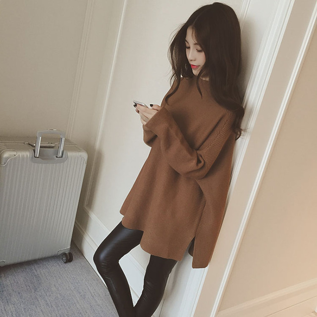 2016 new fall Hitz Korean version of the hem slit loose hedging long-sleeved sweater and long sections sweater woman , PDA-001