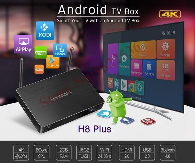 Os mais recentes, HIMEDIA H8 Plus, octa-chips de núcleo 2 GB RAM 16 GB Flash Android Caixa de TV, TV Casa jogador de rede, 3D 4 K UHD, Bluetooth, Set-Top Box