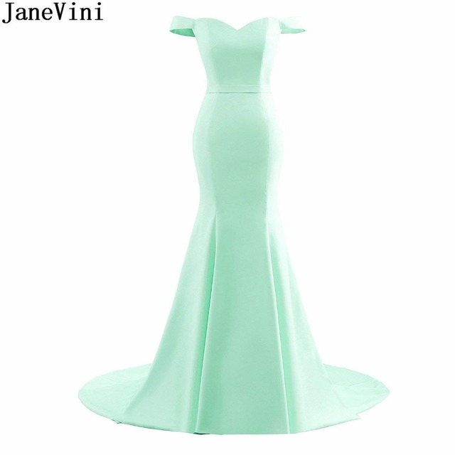 JaneVini 2018 Simple Royal Blue Champagne Mint Prom Dress Long Mermaid Bridesmaid Women Party Dresses Satin Off Shoulder Gown
