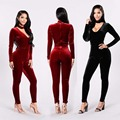 Autumn Winter 2017 Fitness Bodycon Spandex Velvet Sexy Club Jumpsuit Long Playsuit Women Rompers V neck Clubwear Catsuit Overall