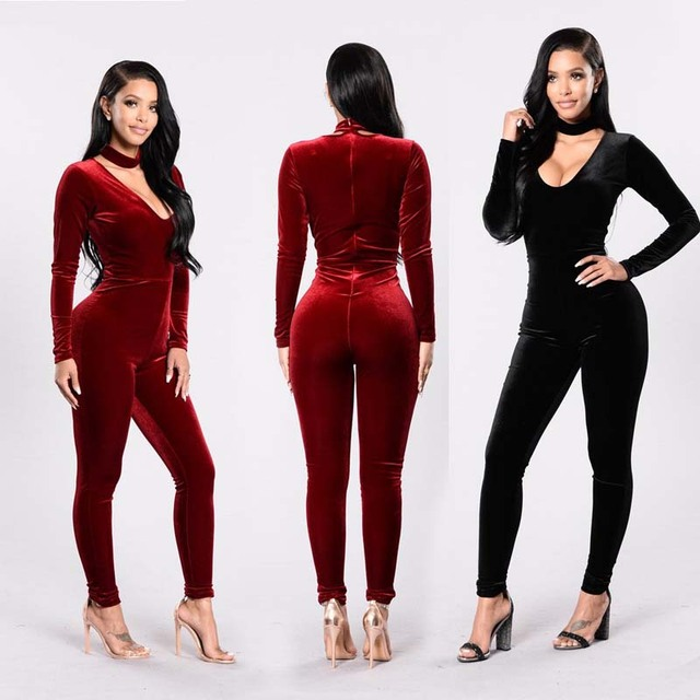 2ef4692e5025 Autumn Winter 2017 Fitness Bodycon Spandex Velvet Sexy Club Jumpsuit Long  Playsuit Women Rompers V neck Clubwear Catsuit Overall