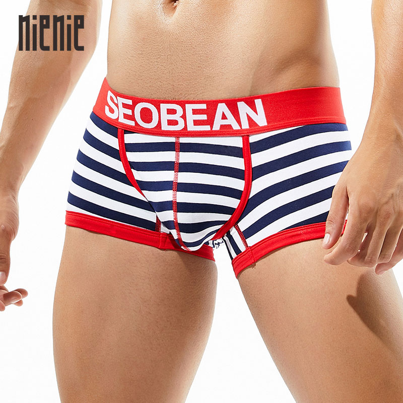 New Men's Striped Underwear Cotton Low-rise Boxer Comfortable Sexy Male 3 Colors Choice