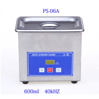 Mini Digital Ultrasonic Cleaner Metal Basket Washing Jewelry Watches Dental PCB CD 600ml 35W 40kHz Cleaner Bath
