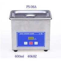 Mini Digital Ultrasonic Cleaner Metal Basket Washing Jewelry Watches Dental PCB CD 600ml 35W 40kHz Cleaner Bath