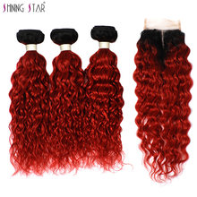 Shining Star 3 Ombre Bundles With Closure Human Hair Weave Brazilian 1B Red Colored Water Wave Bundles With Closure 99J Non Remy(China)