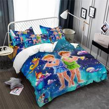Kids Cartoon Bedding Set Princess Gemini Constellation Print Duvet Cover Colorful Galaxy King Queen Pillowcase 3Pcs