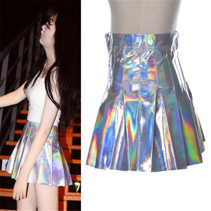 Qlychee Women Wet Look Shiny Faux Hologram Metallic Sliver Pleated Skirt Circle Skater Skirt Silver Metallic Skirt Mini Skirt
