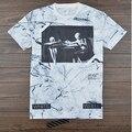 2015 новый стиль Kanye West дизайнера вергилий abloh беловатого т рубашка череп мраморный 3d напечатаны бренд футболка для мужчин женщин случайных тройники